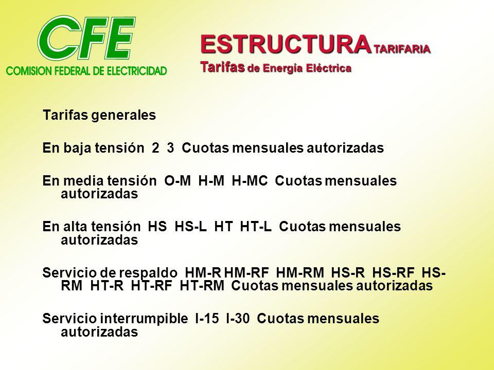 Tarifas generales En baja tensión 2 3 Cuotas mensuales autorizadas En media tensión O-M H-M H-MC Cuotas mensuales autorizadas En alta tensión HS HS-L