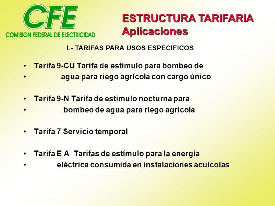 Tarifa 9-CU Tarifa de estimulo para bombeo de agua para riego agrícola con cargo único Tarifa 9-N Tarifa de estimulo nocturna para bombeo de agua para