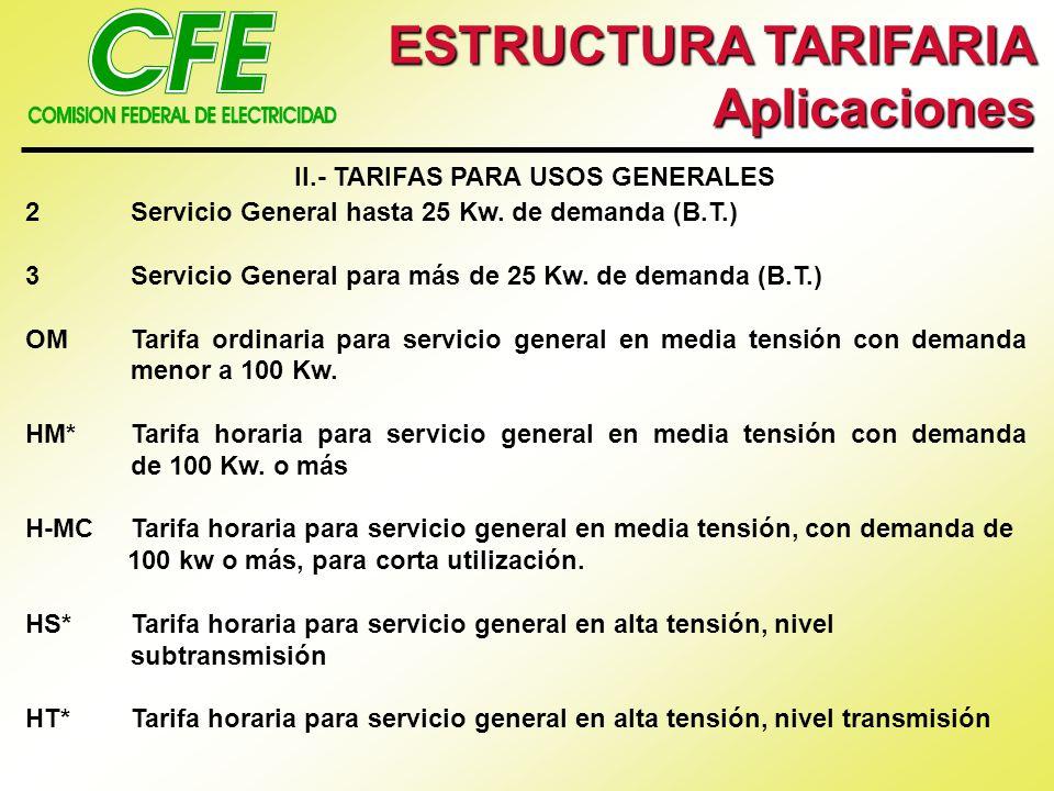 ESTRUCTURA TARIFARIA Aplicaciones II.- TARIFAS PARA USOS GENERALES 2Servicio General hasta 25 Kw. de demanda (B.T.) 3Servicio General para más de 25 K