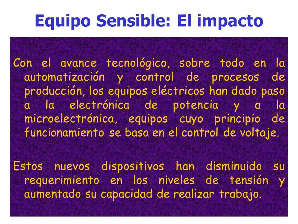 Equipo Sensible: El impacto Hace algunos años, cuando las cargas eran principalmente motores de inducción, que son resistentes a las variaciones de vo