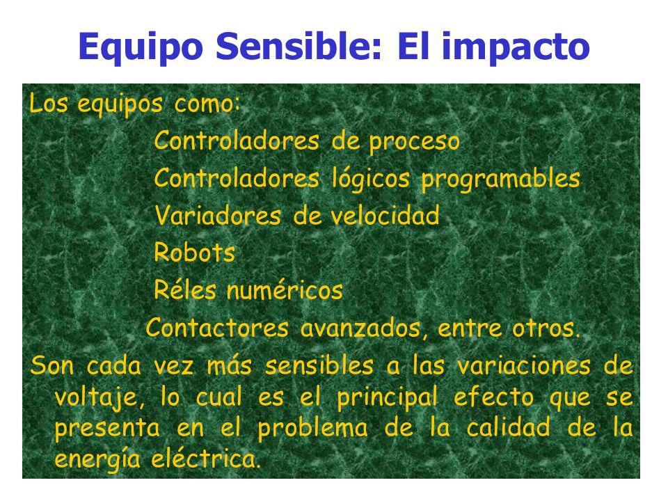 Equipo Sensible: El impacto Con el avance tecnológico, sobre todo en la automatización y control de procesos de producción, los equipos eléctricos han