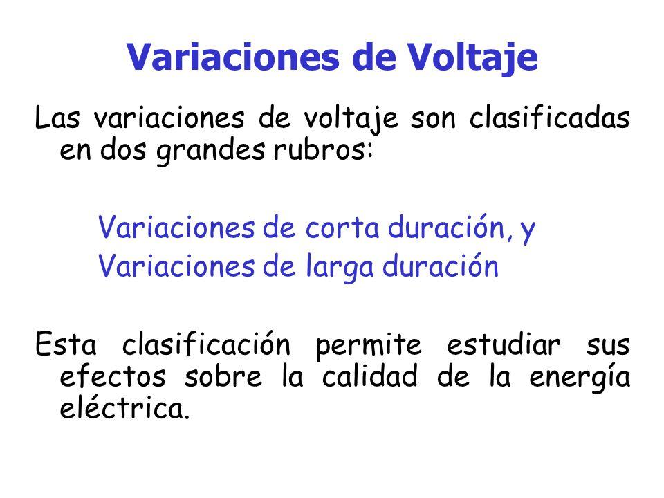 Variaciones de Voltaje Las variaciones de voltaje son clasificadas en dos grandes rubros: Variaciones de corta duración, y Variaciones de larga duración Esta clasificación permite estudiar sus efectos sobre la calidad de la energía eléctrica.