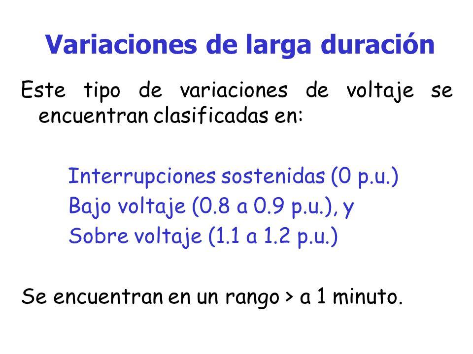 Variaciones de larga duración Este tipo de variaciones de voltaje se encuentran clasificadas en: Interrupciones sostenidas (0 p.u.) Bajo voltaje (0.8 a 0.9 p.u.), y Sobre voltaje (1.1 a 1.2 p.u.) Se encuentran en un rango > a 1 minuto.