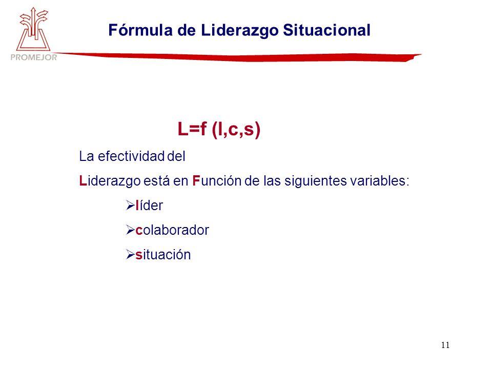 11 Fórmula de Liderazgo Situacional L=f (l,c,s) La efectividad del Liderazgo está en Función de las siguientes variables: líder colaborador situación
