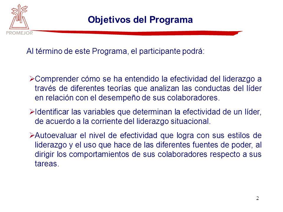 2 Objetivos del Programa Al término de este Programa, el participante podrá: Comprender cómo se ha entendido la efectividad del liderazgo a través de