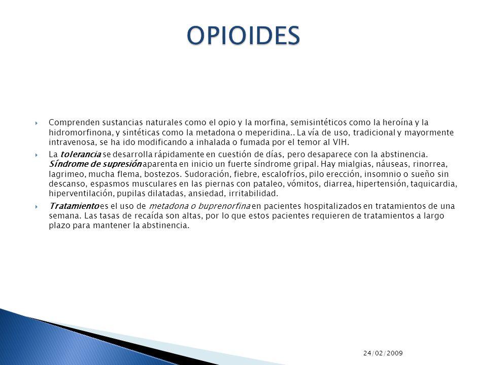 24/02/2009 Comprenden sustancias naturales como el opio y la morfina, semisintéticos como la heroína y la hidromorfinona, y sintéticas como la metadon