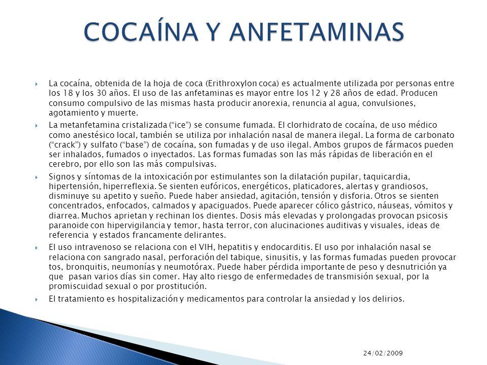 24/02/2009 La cocaína, obtenida de la hoja de coca (Erithroxylon coca) es actualmente utilizada por personas entre los 18 y los 30 años. El uso de las