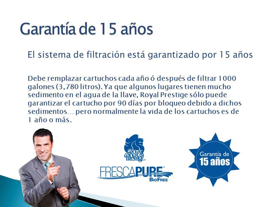 El sistema de filtración está garantizado por 15 años Debe remplazar cartuchos cada año ó después de filtrar 1000 galones (3,780 litros). Ya que algun
