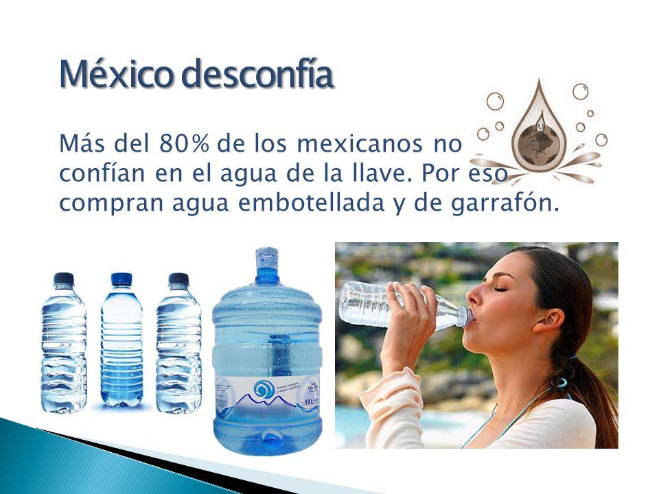 Más del 80 % de los mexicanos no confían en el agua de la llave. Por eso compran agua embotellada y de garrafón.