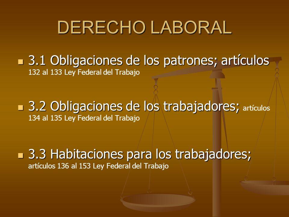 DERECHO LABORAL 3.1 Obligaciones de los patrones; artículos 3.1 Obligaciones de los patrones; artículos 132 al 133 Ley Federal del Trabajo 3.2 Obligac