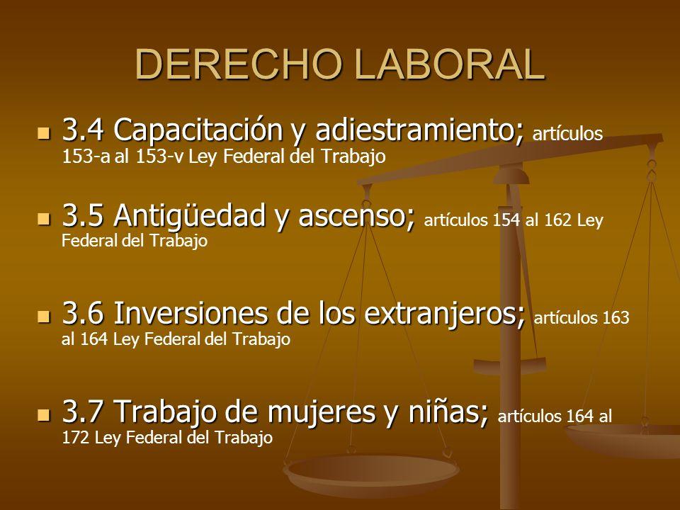 DERECHO LABORAL 3.4 Capacitación y adiestramiento; 3.4 Capacitación y adiestramiento; artículos 153-a al 153-v Ley Federal del Trabajo 3.5 Antigüedad