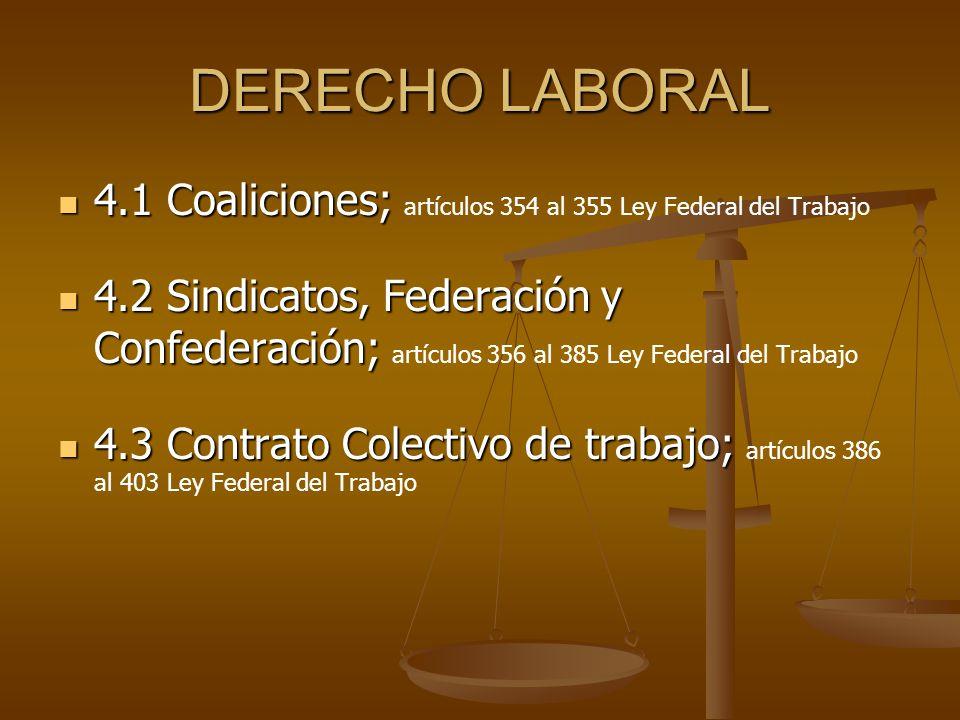 DERECHO LABORAL 4.1 Coaliciones; 4.1 Coaliciones; artículos 354 al 355 Ley Federal del Trabajo 4.2 Sindicatos, Federación y Confederación; 4.2 Sindica