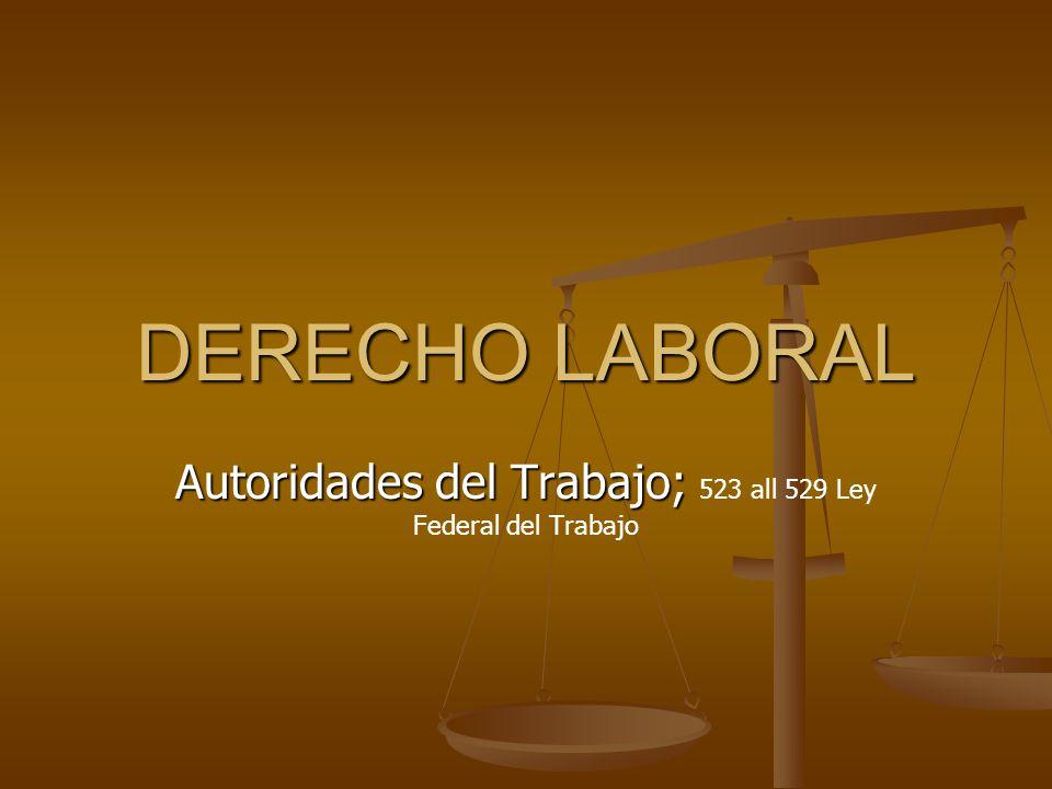 DERECHO LABORAL Autoridades del Trabajo; Autoridades del Trabajo; 523 all 529 Ley Federal del Trabajo