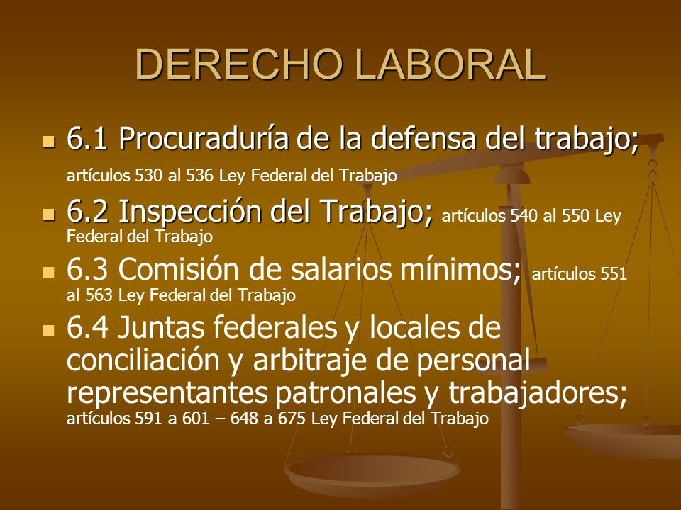 DERECHO LABORAL 6.1 Procuraduría de la defensa del trabajo; 6.1 Procuraduría de la defensa del trabajo; artículos 530 al 536 Ley Federal del Trabajo 6