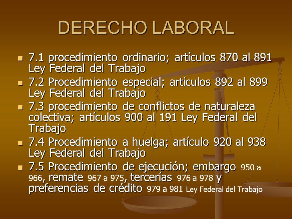 DERECHO LABORAL 7.1 procedimiento ordinario; artículos 870 al 891 Ley Federal del Trabajo 7.1 procedimiento ordinario; artículos 870 al 891 Ley Federa