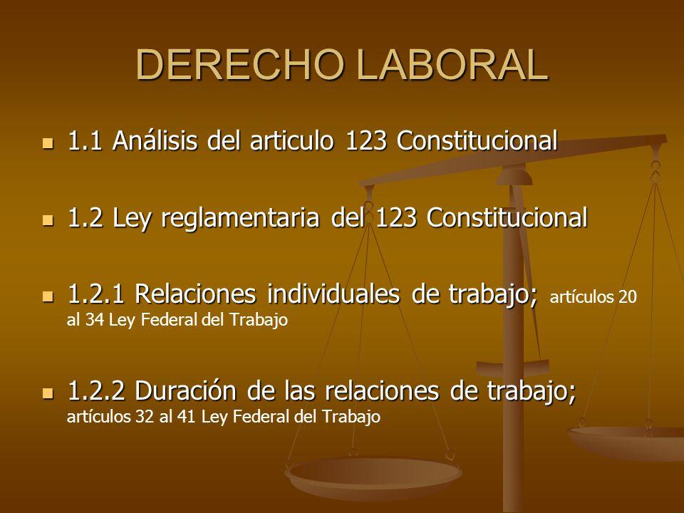 DERECHO LABORAL 1.1 Análisis del articulo 123 Constitucional 1.1 Análisis del articulo 123 Constitucional 1.2 Ley reglamentaria del 123 Constitucional