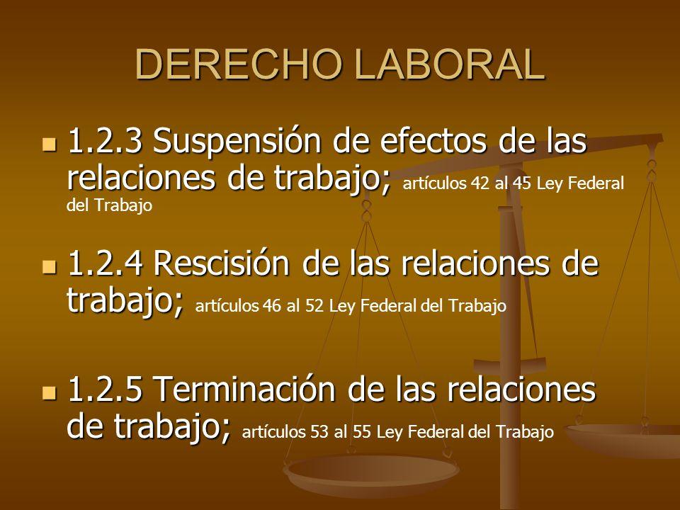 DERECHO LABORAL 1.2.3 Suspensión de efectos de las relaciones de trabajo; 1.2.3 Suspensión de efectos de las relaciones de trabajo; artículos 42 al 45