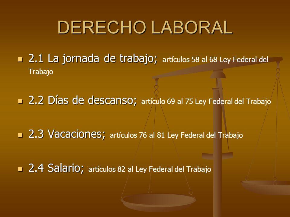 DERECHO LABORAL 2.1 La jornada de trabajo; 2.1 La jornada de trabajo; artículos 58 al 68 Ley Federal del Trabajo 2.2 Días de descanso; 2.2 Días de des
