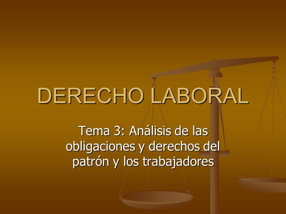 DERECHO LABORAL 3.1 Obligaciones de los patrones; artículos 3.1 Obligaciones de los patrones; artículos 132 al 133 Ley Federal del Trabajo 3.2 Obligaciones de los trabajadores; 3.2 Obligaciones de los trabajadores; artículos 134 al 135 Ley Federal del Trabajo 3.3 Habitaciones para los trabajadores; 3.3 Habitaciones para los trabajadores; artículos 136 al 153 Ley Federal del Trabajo