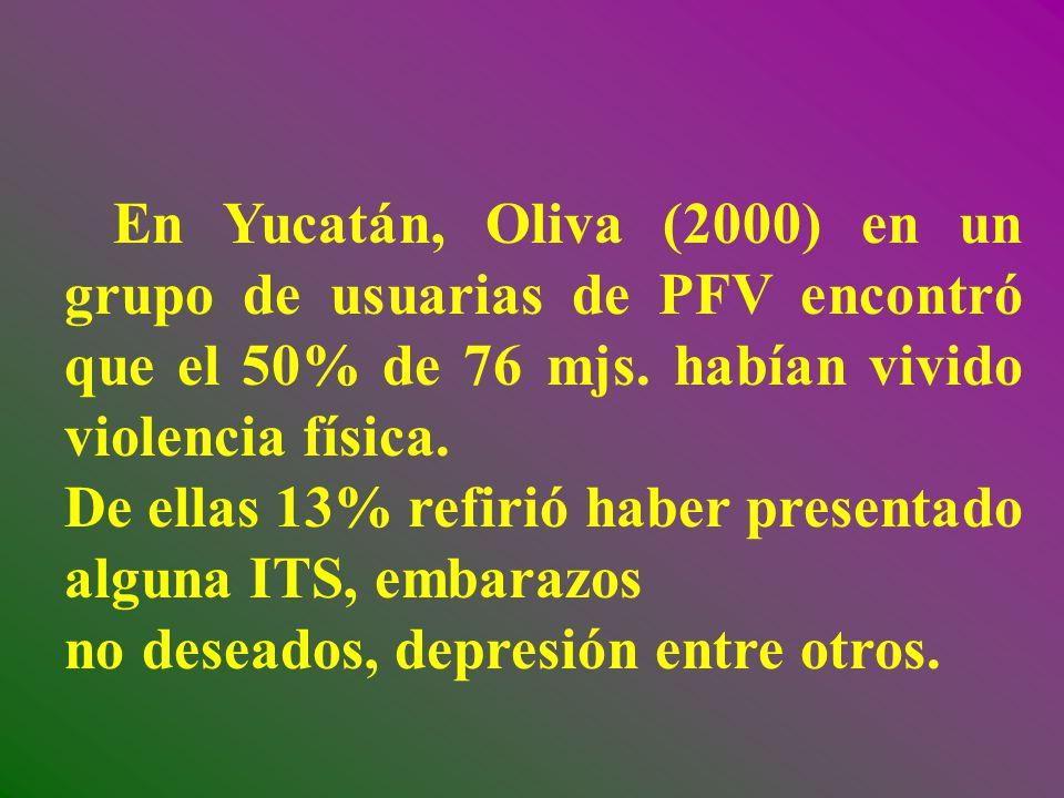 En Yucatán, Oliva (2000) en un grupo de usuarias de PFV encontró que el 50% de 76 mjs. habían vivido violencia física. De ellas 13% refirió haber pres
