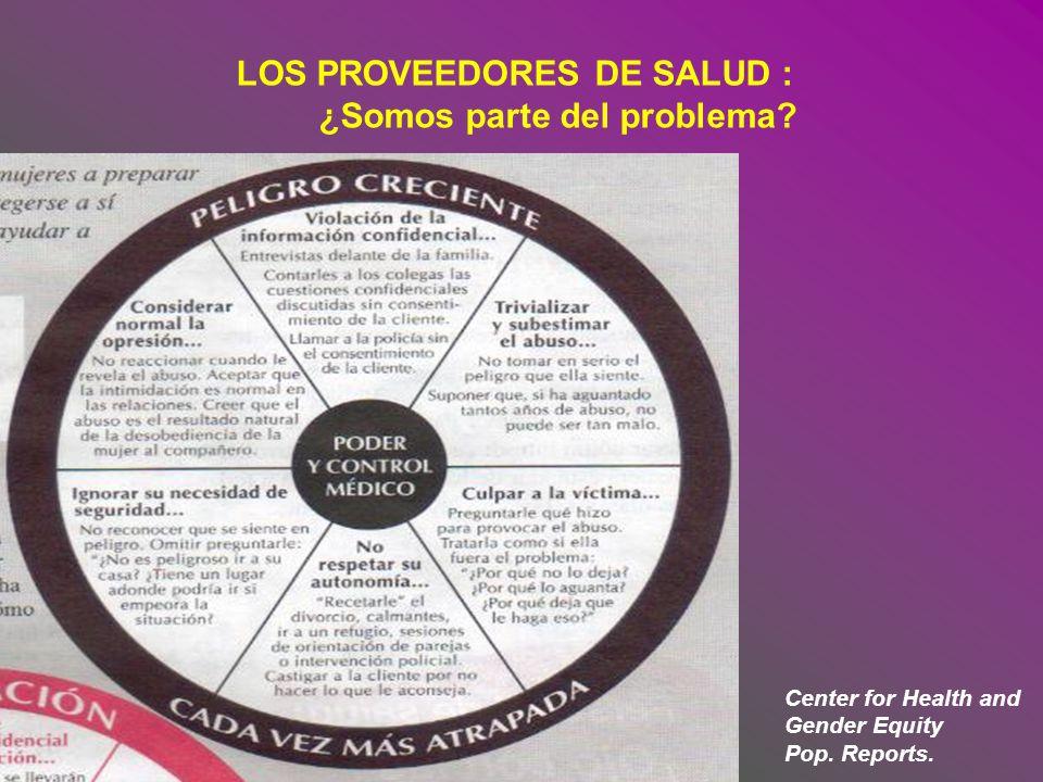 LOS PROVEEDORES DE SALUD : ¿Somos parte del problema? Center for Health and Gender Equity Pop. Reports.