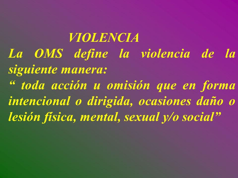 VIOLENCIA La OMS define la violencia de la siguiente manera: toda acción u omisión que en forma intencional o dirigida, ocasiones daño o lesión física