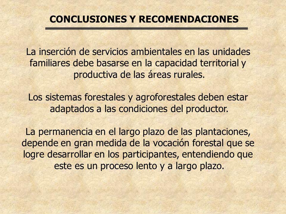 CONCLUSIONES Y RECOMENDACIONES La inserción de servicios ambientales en las unidades familiares debe basarse en la capacidad territorial y productiva de las áreas rurales.