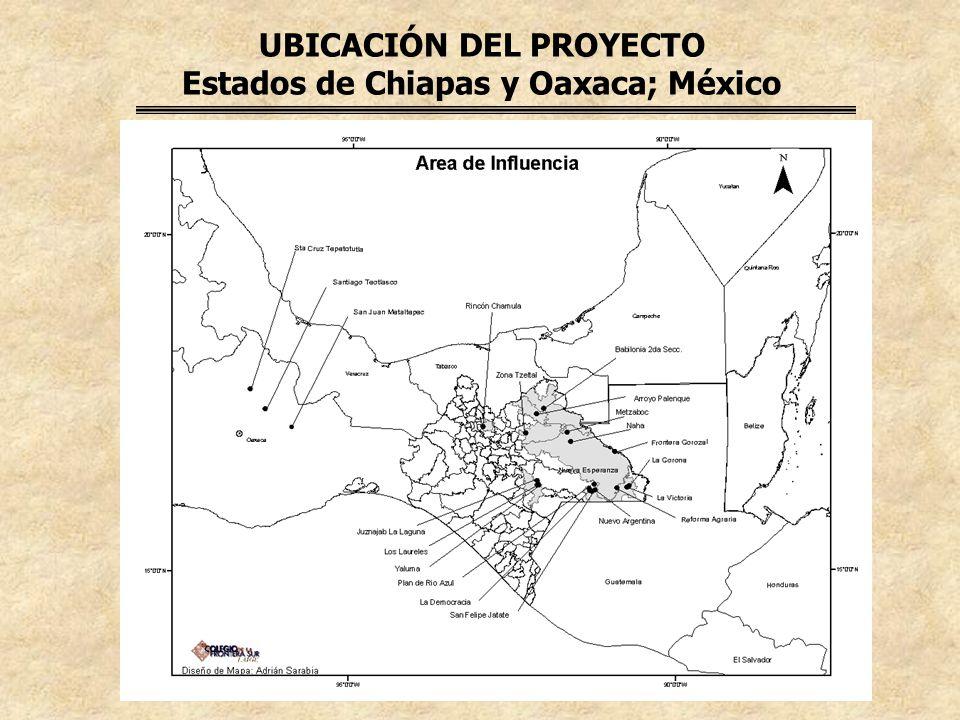 UBICACIÓN DEL PROYECTO Estados de Chiapas y Oaxaca; México