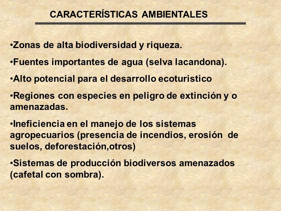 CARACTERÍSTICAS AMBIENTALES Zonas de alta biodiversidad y riqueza.