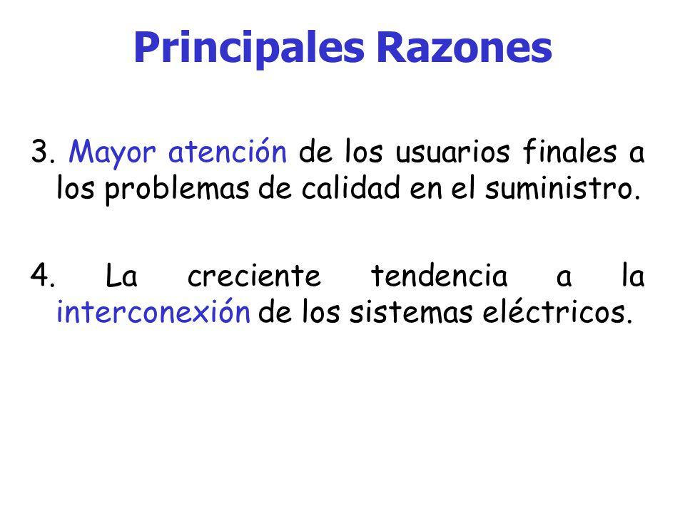Principales Razones Algunas de las principales razones que impulsan el estudio de la calidad de la energía son: 1.Las cargas cada día son más sensibles a variaciones, debido a su constitución electrónica.