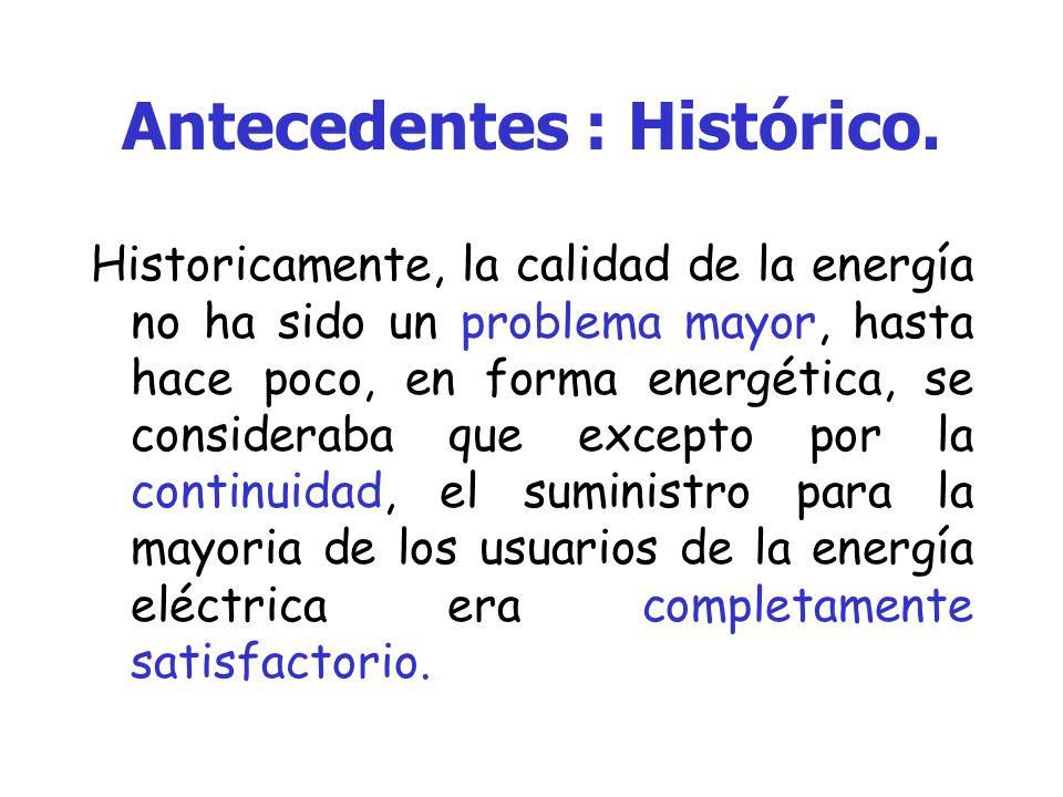 Antecedentes En México, el suministro de energía eléctrica a los usuarios finales, está regido por la ley del servicio publico y su reglamento, en donde se específican los limites que consideran la calidad de la energía eléctrica.