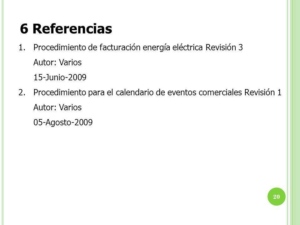 6 Referencias 1.Procedimiento de facturación energía eléctrica Revisión 3 Autor: Varios 15-Junio-2009 2.Procedimiento para el calendario de eventos comerciales Revisión 1 Autor: Varios 05-Agosto-2009 20