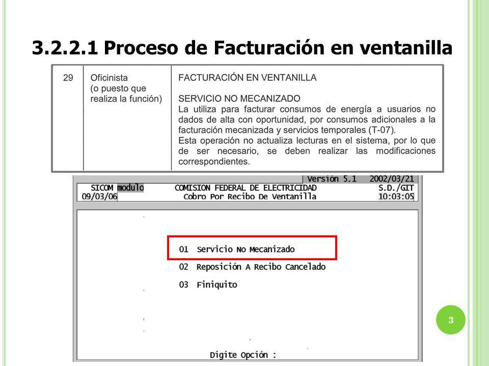 3.2.2.1 Proceso de Facturación en ventanilla 3
