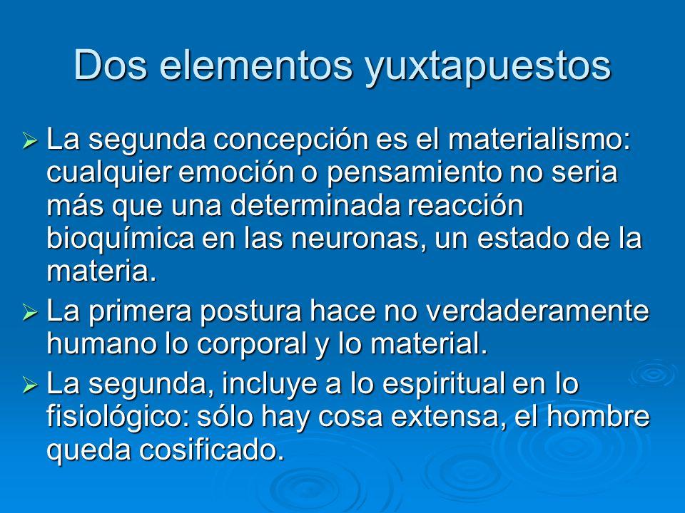 Dos elementos yuxtapuestos La segunda concepción es el materialismo: cualquier emoción o pensamiento no seria más que una determinada reacción bioquím