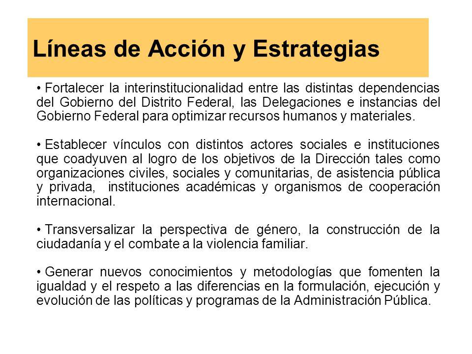 Líneas de Acción y Estrategias Fortalecer la interinstitucionalidad entre las distintas dependencias del Gobierno del Distrito Federal, las Delegaciones e instancias del Gobierno Federal para optimizar recursos humanos y materiales.