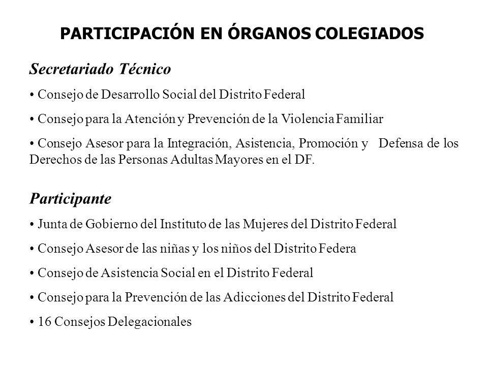 PARTICIPACIÓN EN ÓRGANOS COLEGIADOS Secretariado Técnico Consejo de Desarrollo Social del Distrito Federal Consejo para la Atención y Prevención de la Violencia Familiar Consejo Asesor para la Integración, Asistencia, Promoción y Defensa de los Derechos de las Personas Adultas Mayores en el DF.