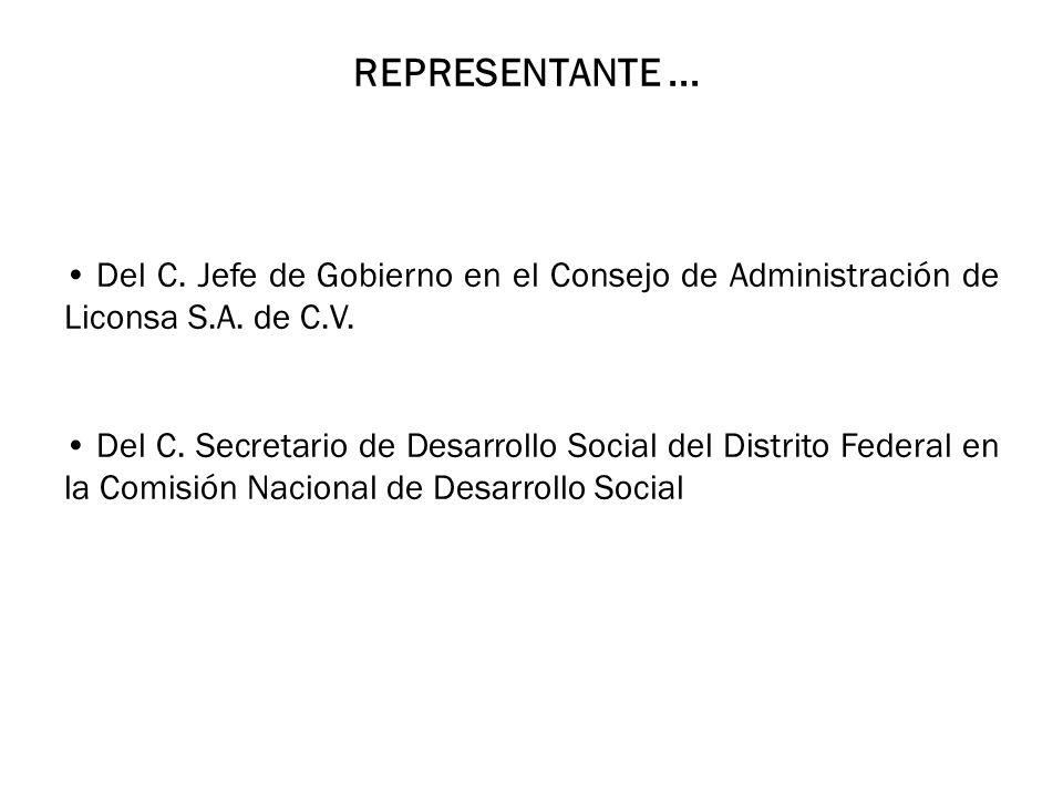 REPRESENTANTE...Del C. Jefe de Gobierno en el Consejo de Administración de Liconsa S.A.