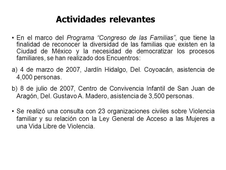 Actividades relevantes En el marco del Programa Congreso de las Familias, que tiene la finalidad de reconocer la diversidad de las familias que existen en la Ciudad de México y la necesidad de democratizar los procesos familiares, se han realizado dos Encuentros: a) 4 de marzo de 2007, Jardín Hidalgo, Del.