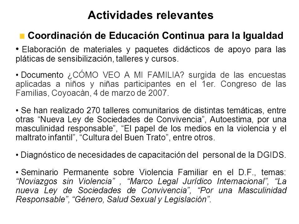 Actividades relevantes Coordinación de Educación Continua para la Igualdad Elaboración de materiales y paquetes didácticos de apoyo para las pláticas de sensibilización, talleres y cursos.