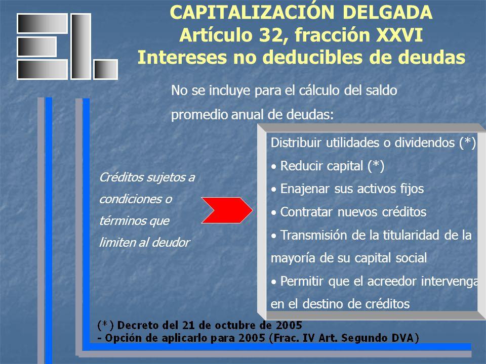 CAPITALIZACIÓN DELGADA Artículo 32, fracción XXVI Intereses no deducibles de deudas No se incluye para el cálculo del saldo promedio anual de deudas: