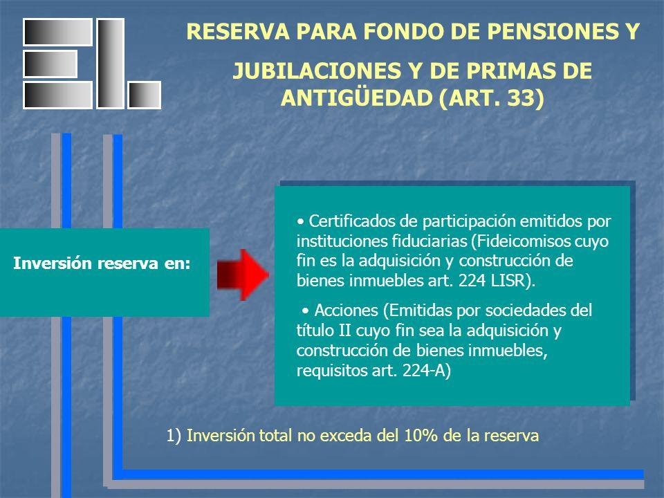 RESERVA PARA FONDO DE PENSIONES Y JUBILACIONES Y DE PRIMAS DE ANTIGÜEDAD (ART. 33) 1) Inversión total no exceda del 10% de la reserva Certificados de