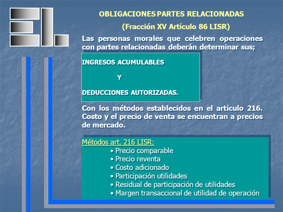 OBLIGACIONES PARTES RELACIONADAS (Fracción XV Artículo 86 LISR) Las personas morales que celebren operaciones con partes relacionadas deberán determin