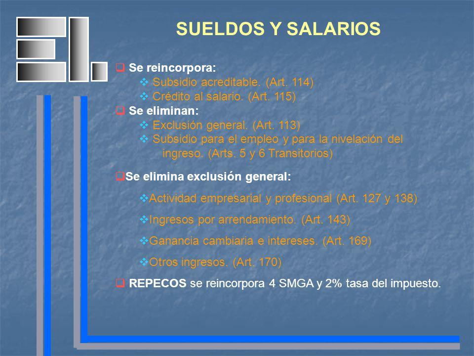 SUELDOS Y SALARIOS Se reincorpora: Subsidio acreditable. (Art. 114) Crédito al salario. (Art. 115) Se eliminan: Exclusión general. (Art. 113) Subsidio