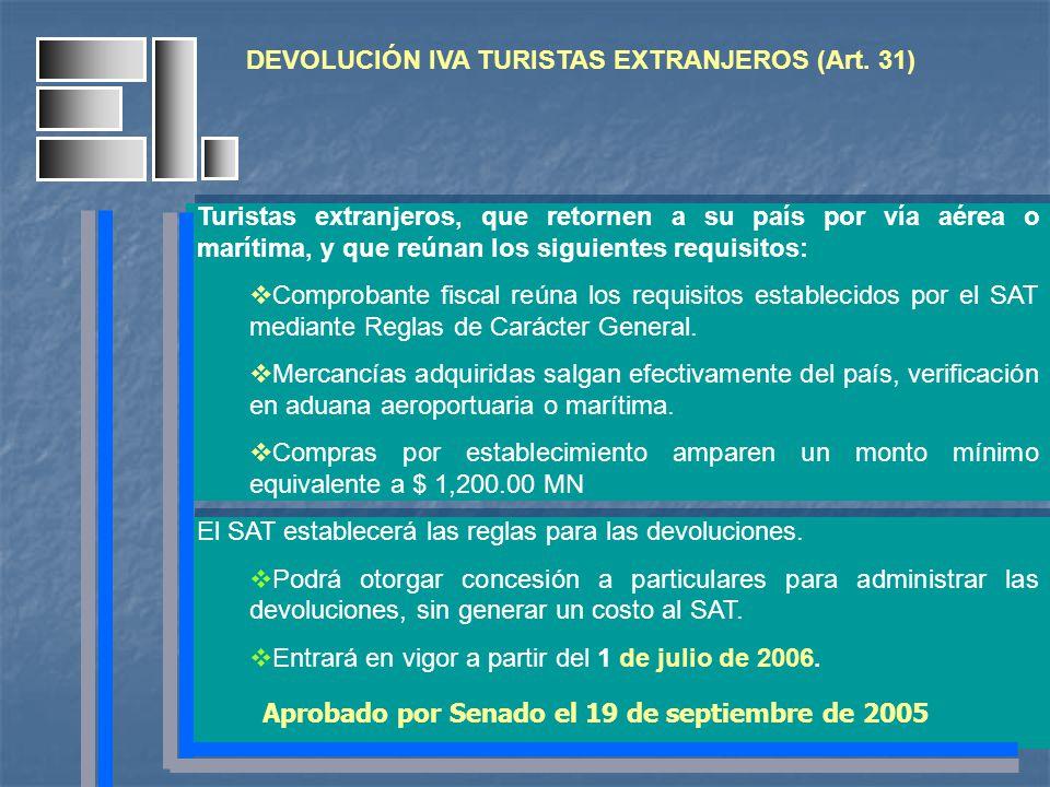 DEVOLUCIÓN IVA TURISTAS EXTRANJEROS (Art. 31) Turistas extranjeros, que retornen a su país por vía aérea o marítima, y que reúnan los siguientes requi