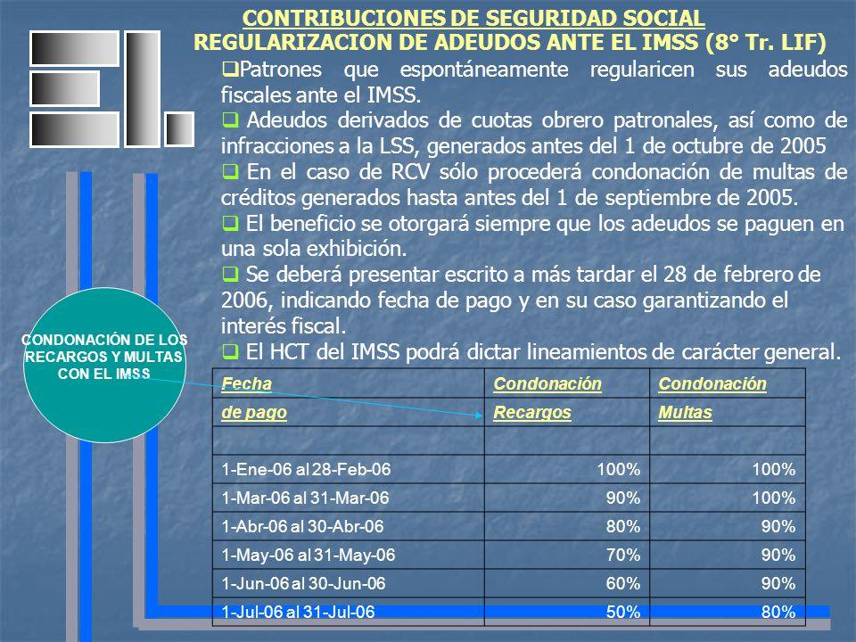 CONTRIBUCIONES DE SEGURIDAD SOCIAL Patrones que espontáneamente regularicen sus adeudos fiscales ante el IMSS. Adeudos derivados de cuotas obrero patr