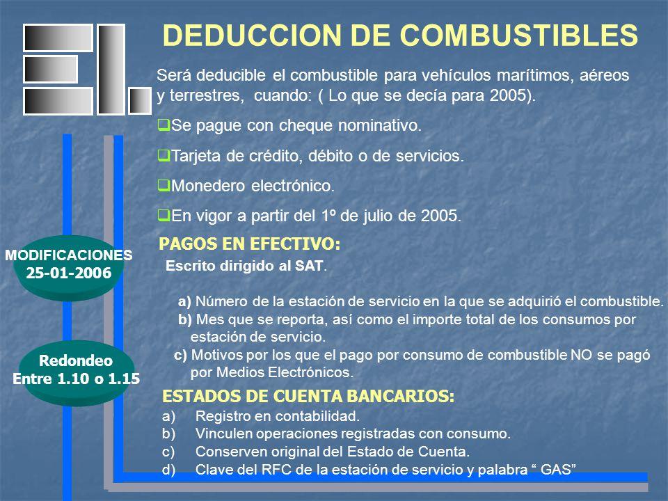 DEDUCCION DE COMBUSTIBLES Será deducible el combustible para vehículos marítimos, aéreos y terrestres, cuando: ( Lo que se decía para 2005). Se pague