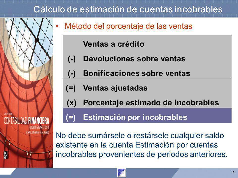 13 Cálculo de estimación de cuentas incobrables Ventas a crédito (-)Devoluciones sobre ventas (-)Bonificaciones sobre ventas (=) Ventas ajustadas (x)P
