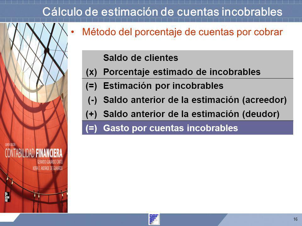 16 Método del porcentaje de cuentas por cobrar Cálculo de estimación de cuentas incobrables Saldo de clientes (x)Porcentaje estimado de incobrables (=