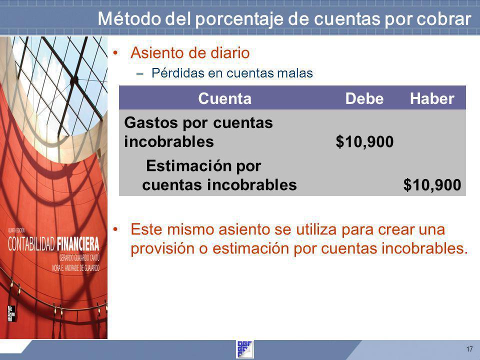 17 Método del porcentaje de cuentas por cobrar Asiento de diario –Pérdidas en cuentas malas Este mismo asiento se utiliza para crear una provisión o e