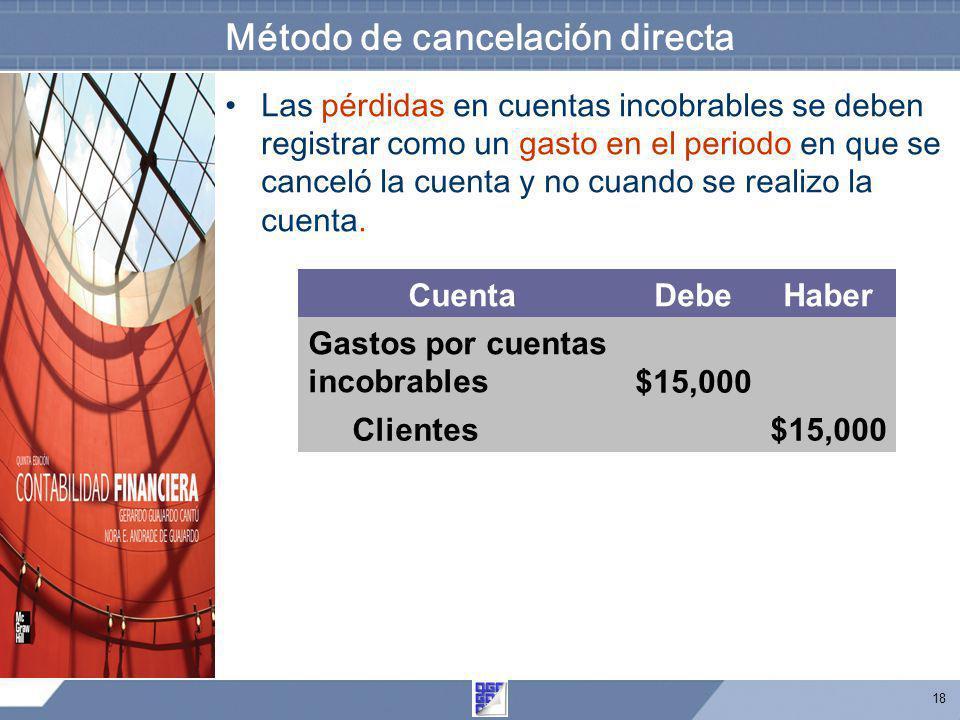 18 Método de cancelación directa Las pérdidas en cuentas incobrables se deben registrar como un gasto en el periodo en que se canceló la cuenta y no c